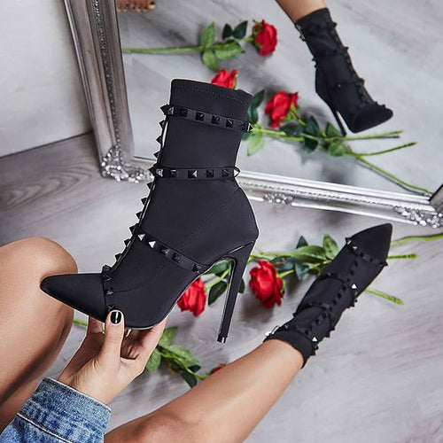 Chic Women Boots Thin High Heel Pointed Toe