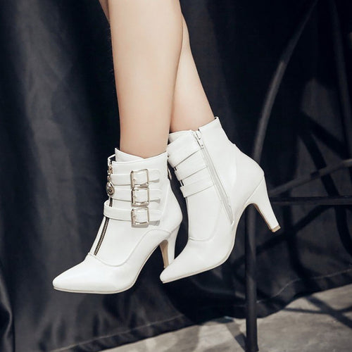 Big Size Women Ankle Boots High Heels Zipper Buckles