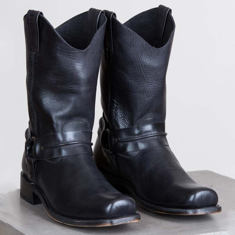 Distressed Leather Harness Boots