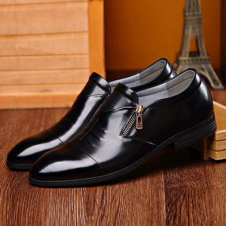 Casual Male PU Leather Shoes Zipper Closure Solid Color Low Heel