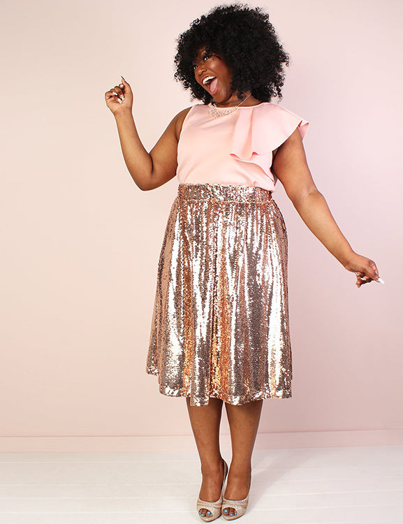 A-Line Knee Length Zipper Custom Made Sequin Skirts
