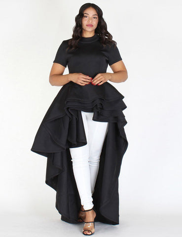 High Low Ruffled Irregular Dress
