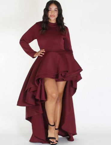 Long Sleeve High Low Dress