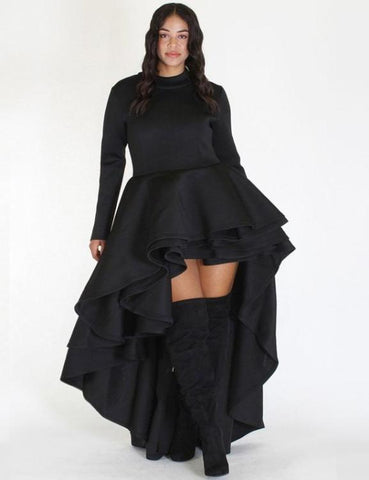 Off Shoulder Bell Sleeves Ruffles Waist Bodycon Dress