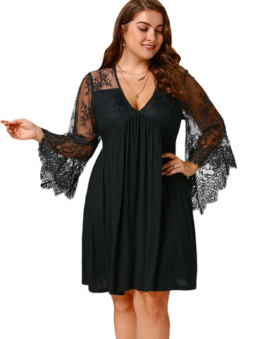 Plus Size Lace Panel  A-line Vintage Dress