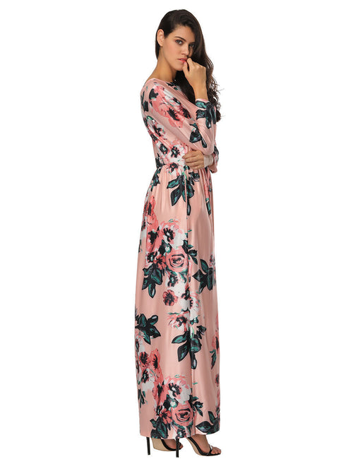 Dressy Flower Pattern Long Dress Elastic Waist Breathable