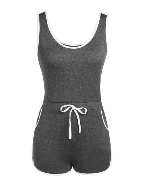 Durable Sleeveless Rompers Elastic Waistband High Grade