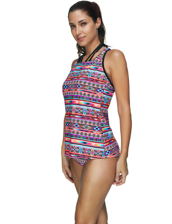 Dynamic Bohemian Tribal Print Plus Size Bathing Suits Lady Fashion