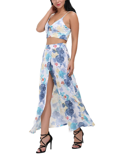 Elaborate Floral Crop Top Two Piece Dress Suit With Long Open Front Skirt