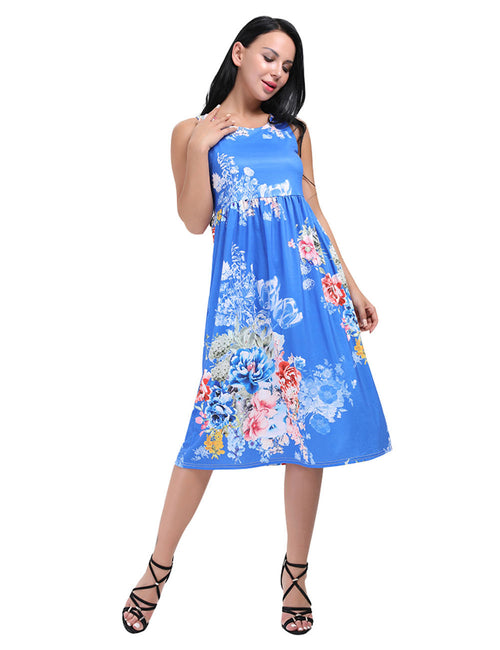 Elaborate Ruching Waist Floral Tank Top Midi Dress Distinctive Look