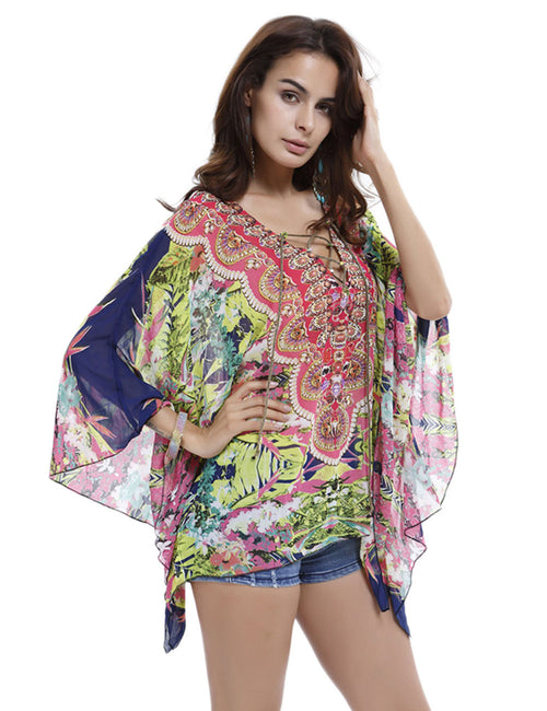 Elegance Bohemian Swimsuit Cover Up Dress Batwing Sleeve Under The Sun