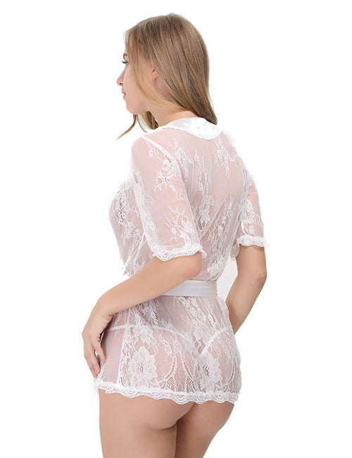 Enchanted Floral Lace Robe With G-String Intimate