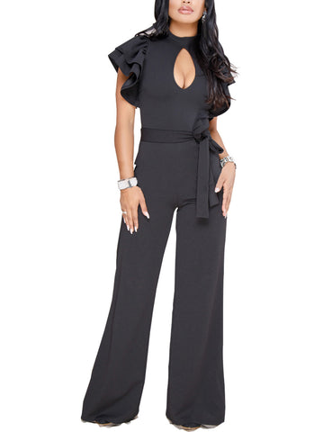 Endearing Front Keyhole Jumpsuits Ruffles Absorbs Moisture
