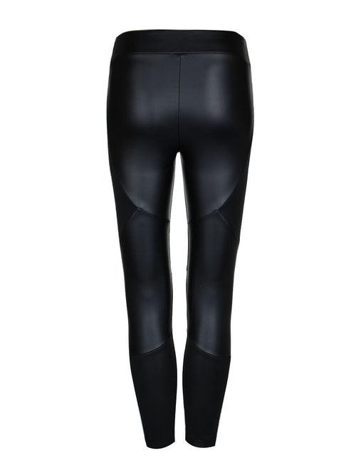Energetic Ankle Length Leather Stitching Tights Good Air Permeability