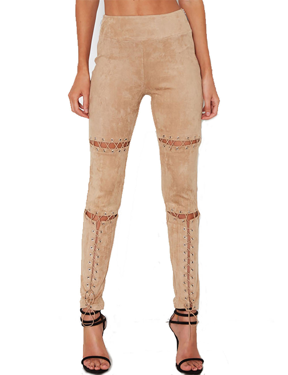 Energetic Suede Trousers Straight-Leg Wide Waistband Weekend Time