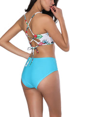 Enthusiastic Back Crossover Blossom Print Bathing Suit Fashion Essential