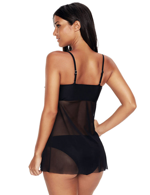 Entrancing Plus Black Mesh Bating Suits Push Up Padding Cup Flowy Top Feminine Fashion Style