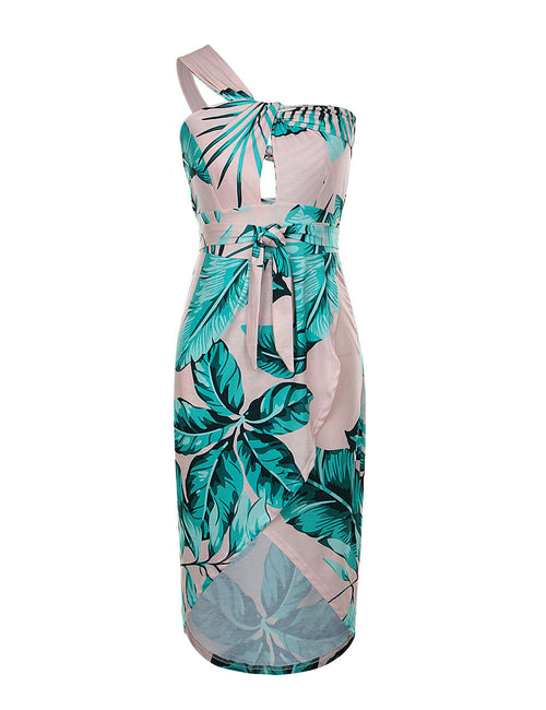 Ethereal Crossed V Neck Print Beach Dress Vacation Time