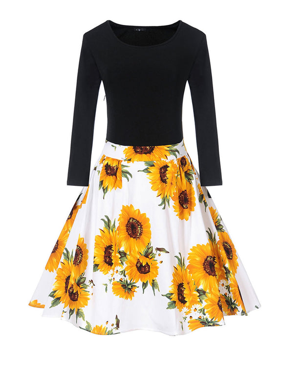 Ethereal Long Sleeve Sunflower Party Dresses Pleated Hem Online Shopping