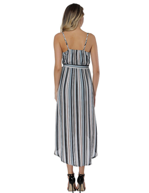 Ethereal Surplice V Neck Striped Long Dresses Ladies Elegance