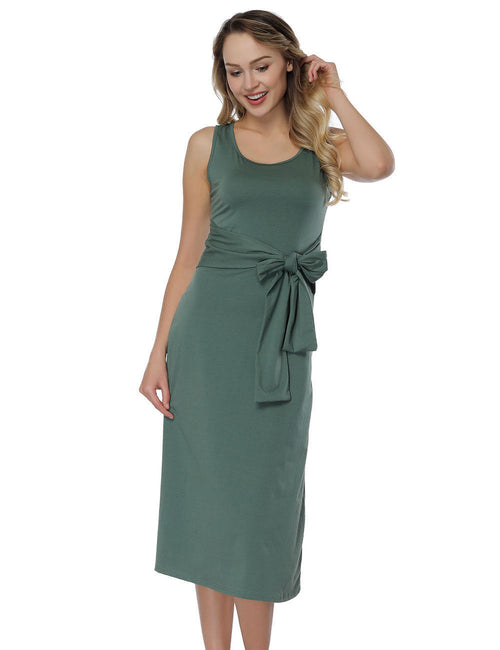 Ethereal Waist Tie Midi Dresses U Neck Leisure Time