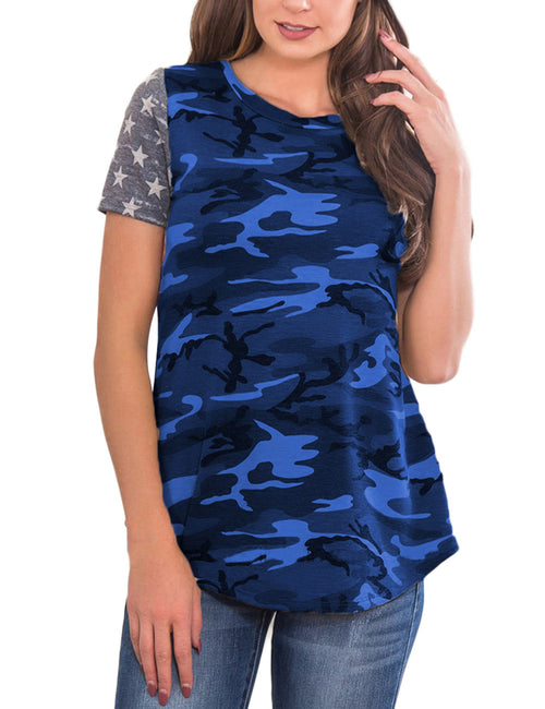 Exclusive Camo Pattern T-Shirts Stripe Full Back Sexy Fashion