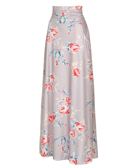 Exclusive Floral Print Skirt With Pockets Womens Apparel
