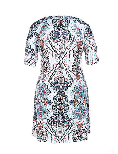Explicitly Chosen Hollow Out Midi Print Dress Queen Size Best Materials