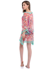 Exquisite Boho Print Dropped Shoulders Beach Cover Up Fashion Forward