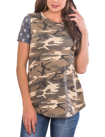 Exquisite Front Camo Print Blouses Back Striped Understated Design