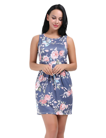 Extra Sexy Tank Top Sleeveless Flower Shift Dress Short Distinctive Look