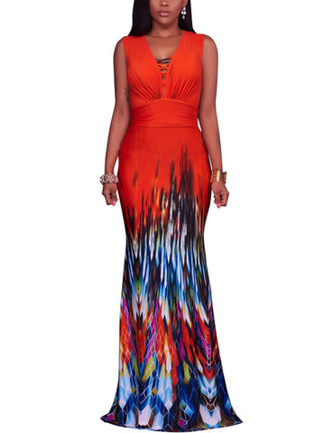 Extraordinary Gradient Print Cover Up V Neck Maxi Dress Sleeveless For Ladies