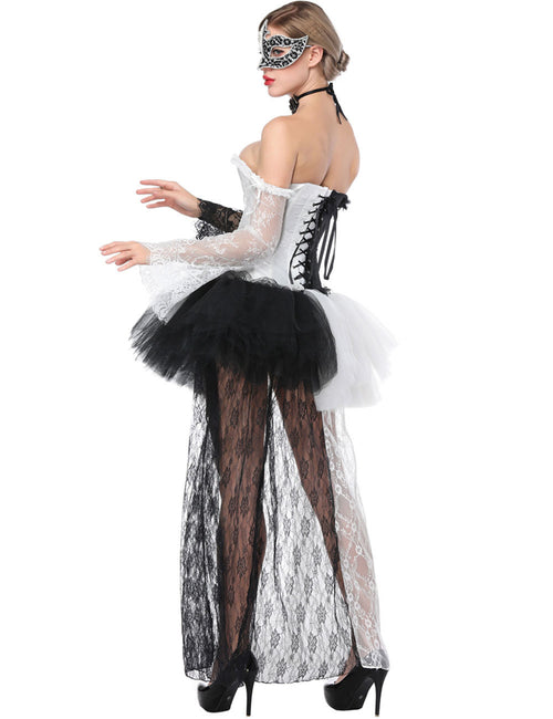 Extraordinary Lace Up Corset With Skirts Long Sleeves Abdomen Trimmer