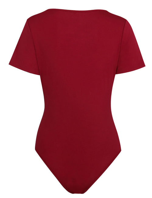 Extraordinary Plunging Bodysuit Short Sleeves All-Match Style