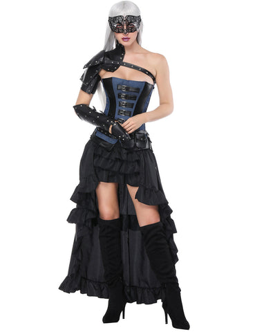 Eye Catcher Mental Decor Layered Five Pieces Corset Sets With Belt Strengthen