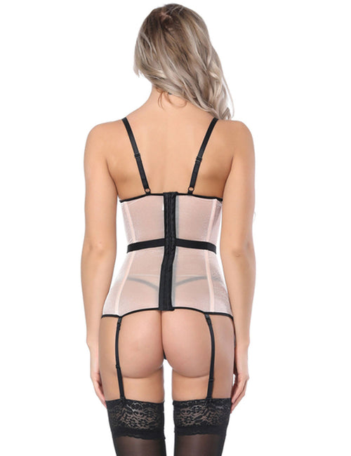 Eye Catcher Mesh Corset Contrast Color Defined Waist Fitted Curve