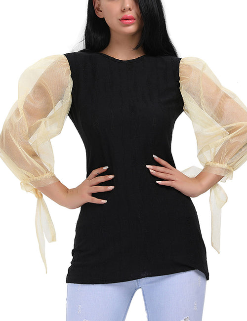 Eye Catching Splicing Mesh Sleeves Blouses Fabulous Fit