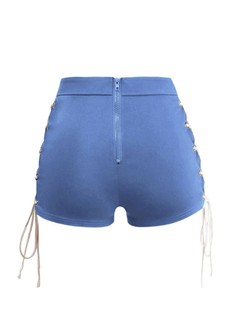 Fabulous Buckle Bandage Cut Shorts Elastic Waistband Fashion Online