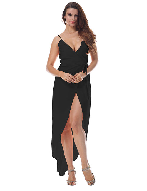 Fabulous Flared V Neck Tie Waist Irregular Hem Dress Form Fitting