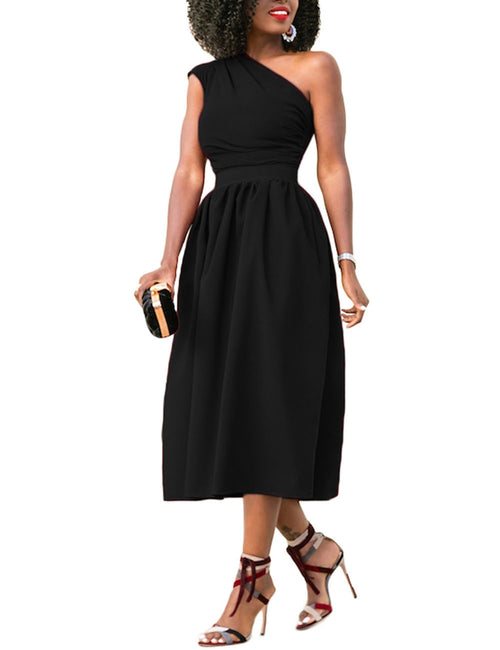 Fabulous Pockets Midi Dress Asymmetrical Shoulder