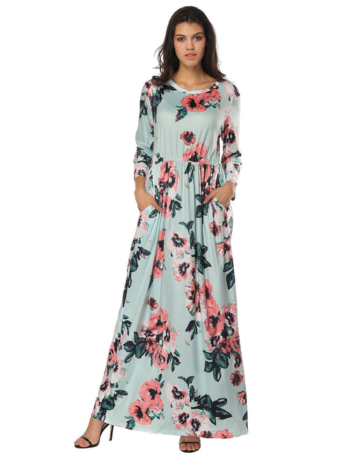 Fabulous Sleeved Round Neck Blossom Flower Maxi Dress Shop Online