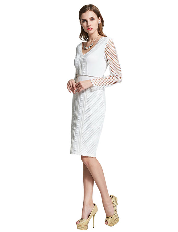 Fabulously Knee Length Dress Long Mesh Sleeve V-Neck Fashion Forward