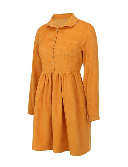 Fabulously Long Sleeve Corduroy Dress High Waist Wide Hem Contouring Sensation