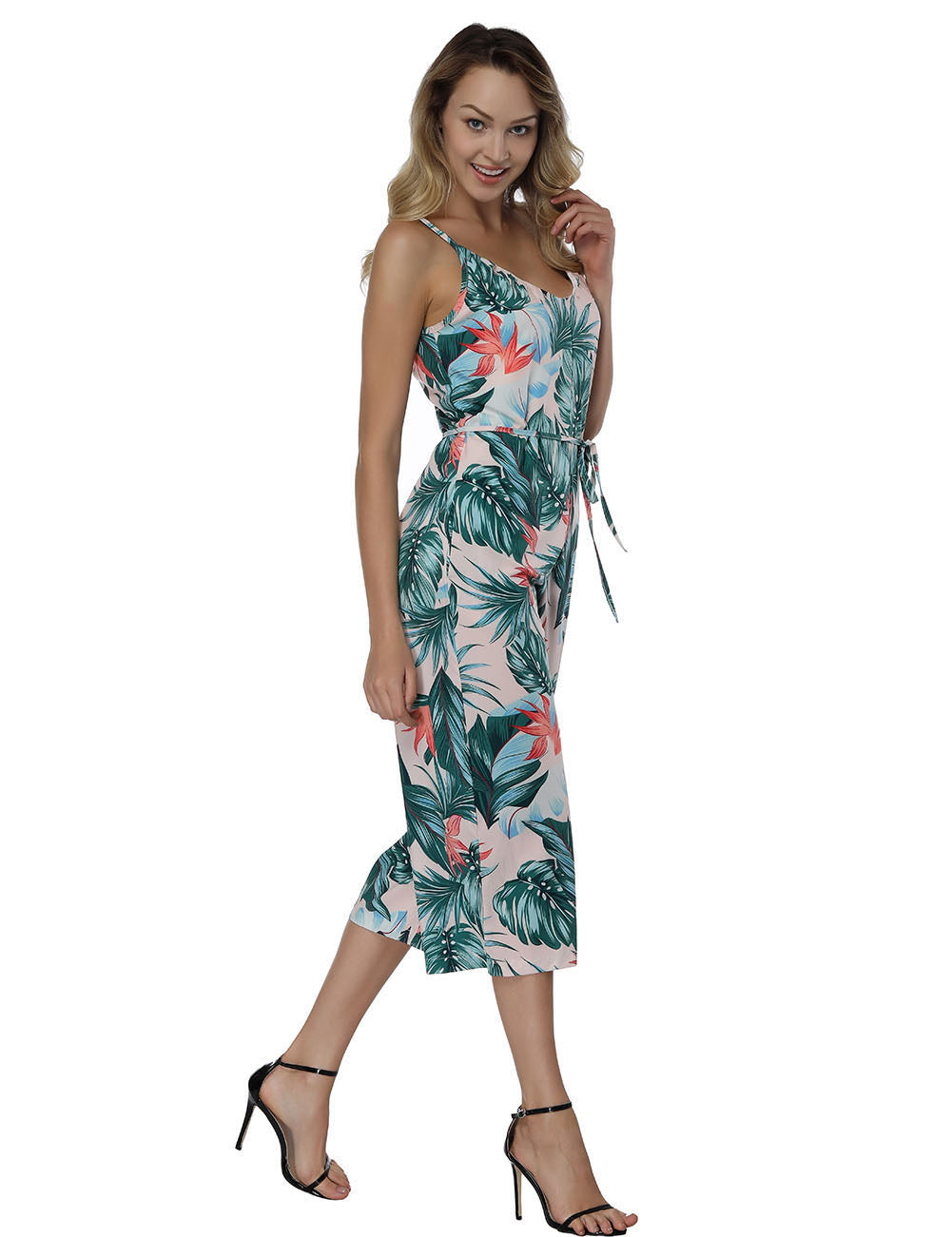 Fad Leaves Thin Straps Jumpsuit Feminine Romance