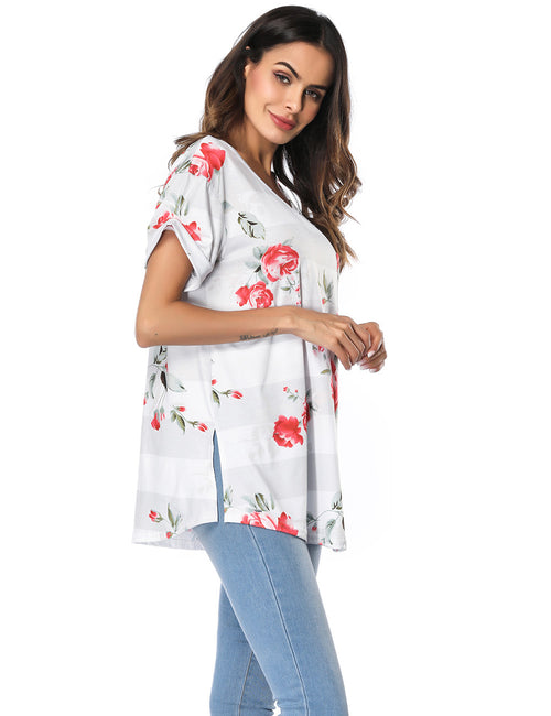 Fad Stripe Flower Print Shirt Split Back For Ladies