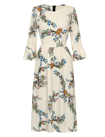 Faddish Flared Sleeve Midi Dress Flower Print Zipper Pullover