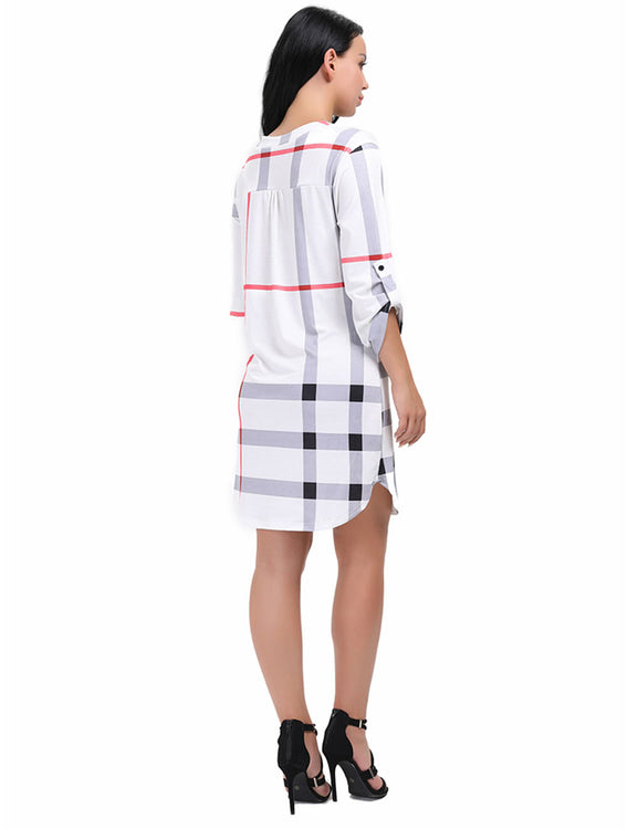 Faddish Knee Length Button Plaid Dress Round Cut Hemline