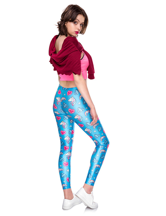 Fantastic 3D Digtal Print Cropped Tights Mid Waist For Lounging