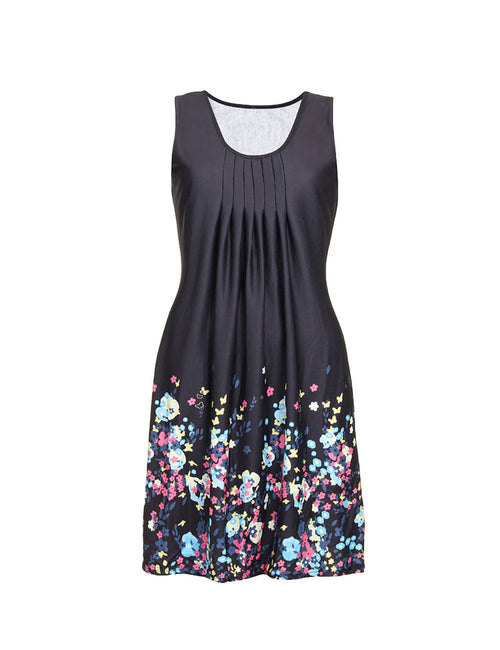 Fantastic Flower Print Plus Size Casual Dresses Sleeveless For Ladies