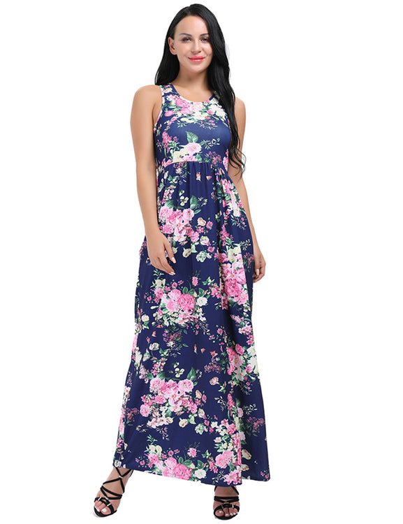 679528a35f28 Fantasy Flower Print Going Out Maxi Dresses Sleeveless Sale Online ...